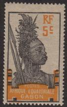 1922 Warrior Woman Gabon Postage Stamp Catalog Number 53 MNH