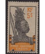 1922 Warrior Woman Gabon Postage Stamp Catalog Number 53 MNH - $4.95