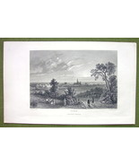 GERMANY View of Bonn on Rhien River - 1840s Antique Print Engraving - $11.10