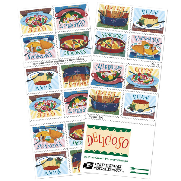 USPS 2017 Delicioso Book of 20 Forever Stamps MNH