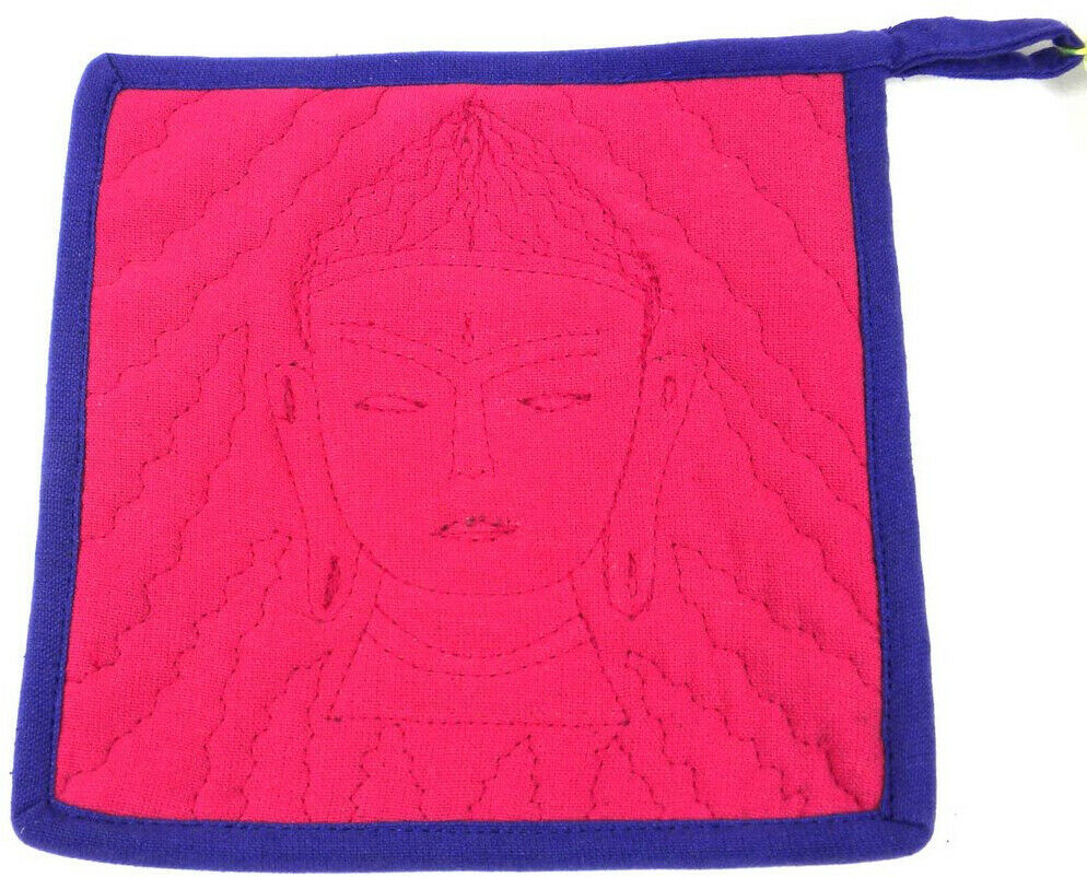 Handmade In Nepal Embroidered Buddha Hot Pad Potholder Eclectic Boho
