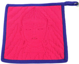 Handmade In Nepal Embroidered Buddha Hot Pad Potholder Eclectic Boho - $20.79