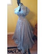 Vintage 50's formal long dress light blue flocked gown with shrug jacket - $190.00