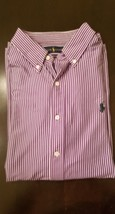 NEW Polo Ralph Lauren Men's Dress Shirt XL Purple White Stripe MSRP $49+ - $23.36