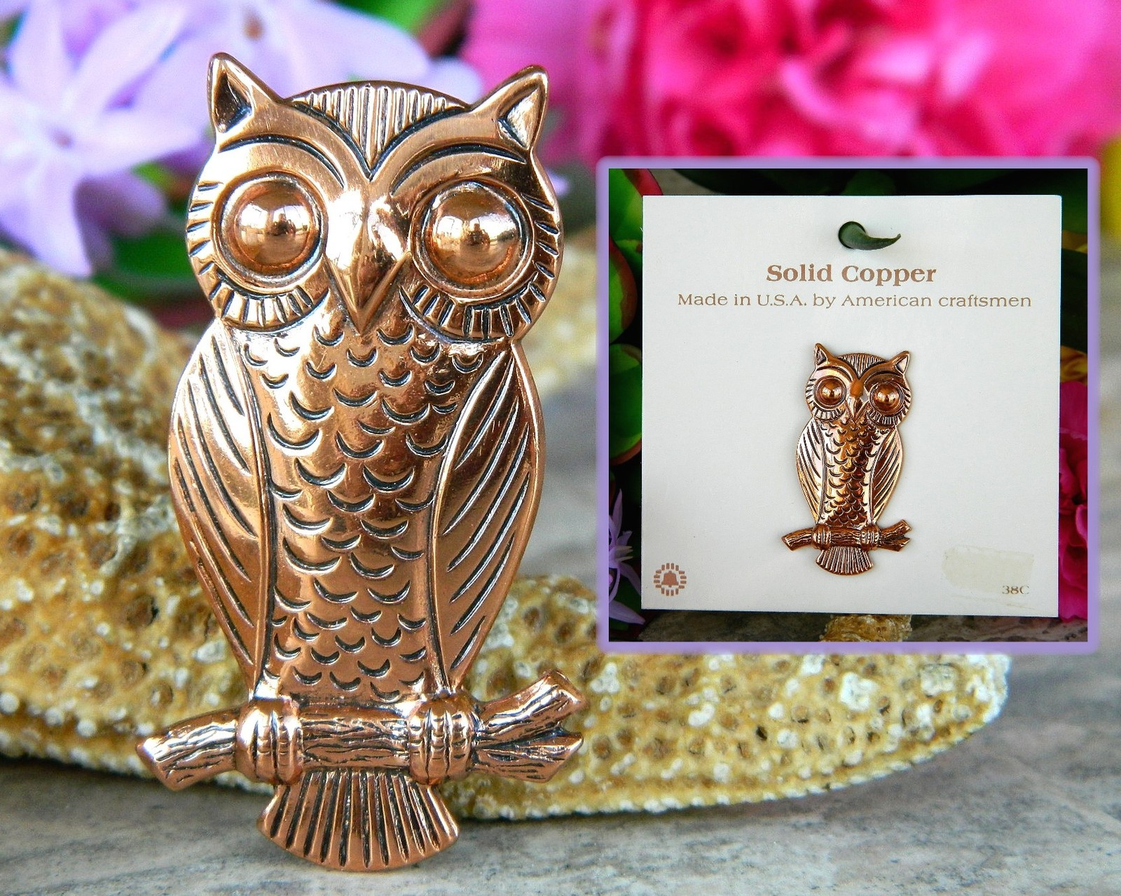 Vintage Solid Copper Owl Tree Branch Brooch Pin Bell Trading Post USA image 5