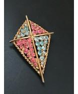 Vintage Goldtone Kite w Blue & Pink Rhinestones Pin Brooch – 2.25 x 1.5 ... - $19.49