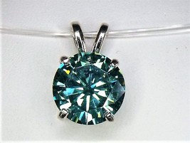 Awesome Vivid Green Moissanite / Sterling Silver Pendant from KT Elegant Jewelry - $119.95