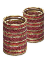 Lacquer Glass Wedding Bangles for women Red Zig... - $96.00