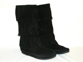 MINNETONKA MOCCASIN 1639 3 Layer Fringe Black Suede Leather Pull On Boot... - $19.99