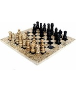 JT Handmade Fossil Coral and Black Marble Chess Set Game Original -12 in... - $450.00