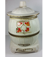 McCoy Pottery Pot Belly Stove Cookie Jar 10in Tall White Vintage Caniste... - $49.99