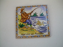 Spanish Tiles FISHERMAN Made In Spain PESCADOR Wall plaque - $22.00