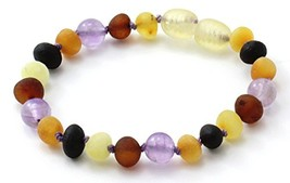 Unpolished Baltic Amber Teething Bracelet/Anklet Made with Amethyst Bead... - $14.41
