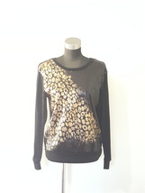 Bongo Black Gold Sequin Shimmer Animal Print Design Front Top Size Medium  - $11.69