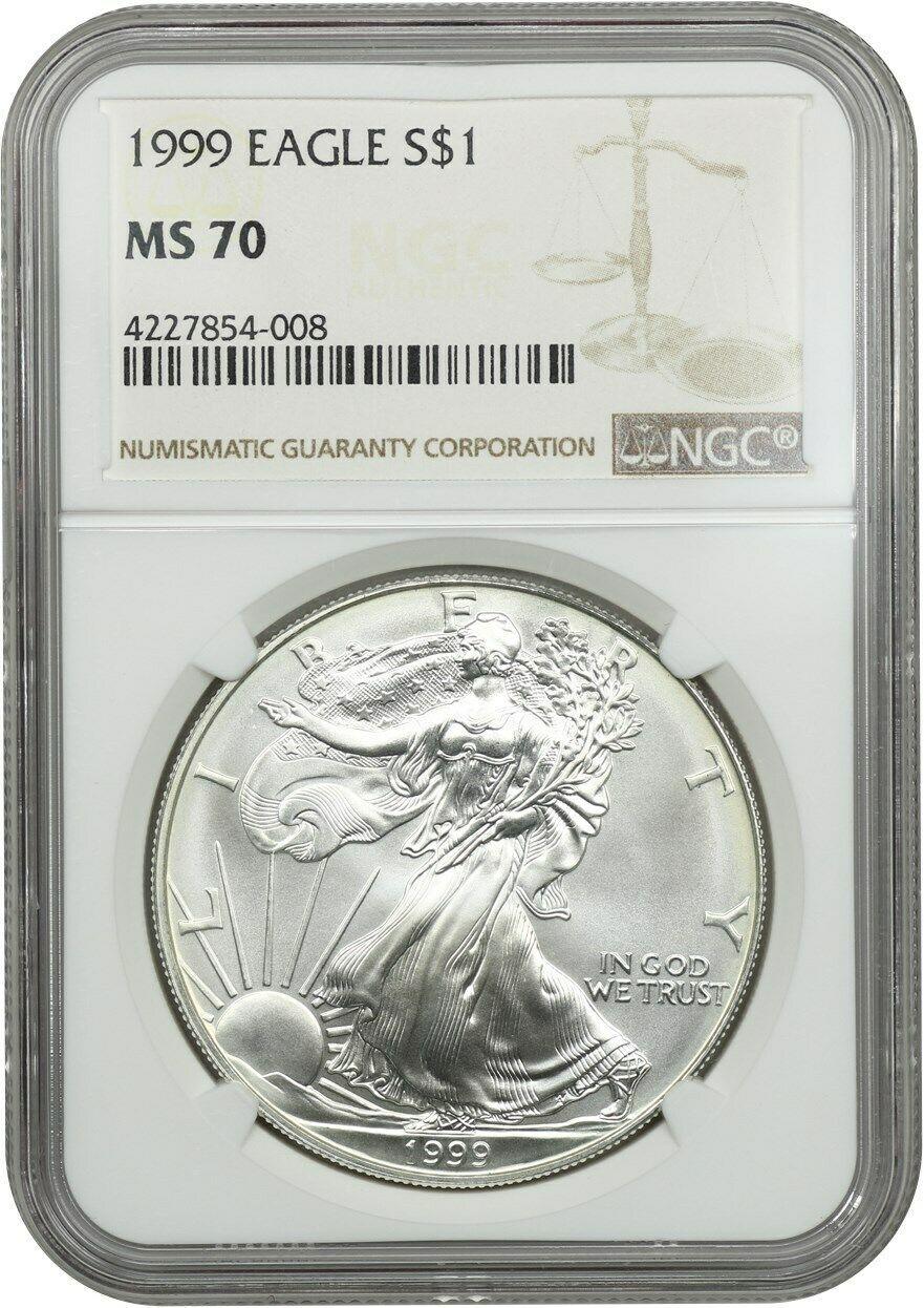 1999 Silver Eagle $1 NGC MS70 - American Eagle Silver Dollar ASE - 1oz Silver - $10,767.00