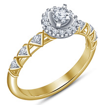 14k Yellow Gold Plated 925 Silver Round Cut White CZ Engagement Annivers... - $69.97
