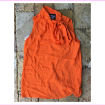 $345 Moschino Sleeveless Tie Neck Blouse, Orange, size 14, Italy 48 - $166.11
