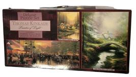 Thomas Kinkade 3 Full Size Ceaco Deluxe Puzzle Set 700/550/100 - $11.88