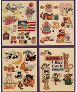 50 Cross Stitch Cats Kittens Christmas Halloween Patriotic Napping Patterns - $11.99