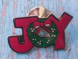 Vtg Swib Joy Pin Red Letters Christmas Wreath Goldtone Holiday Fashion J... - $11.87