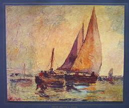 ITALY Sail Boats in Sunset Marina - COLOR Antique Print - $16.20