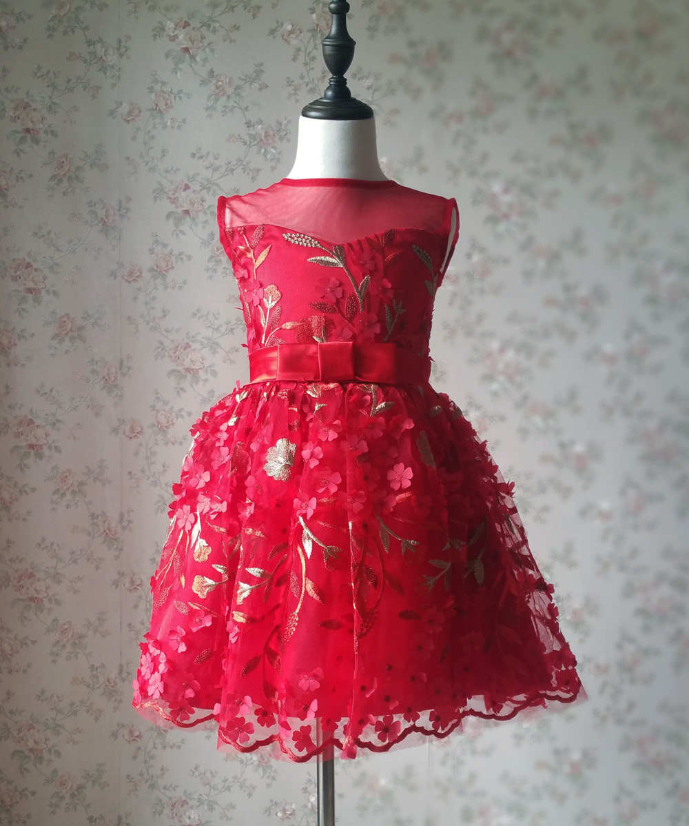 Girl Lace Tulle Red Party Dress Red Embroidery Wedding Flower Girl Dresses- 4-16