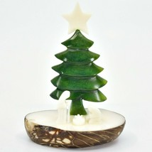 Hand Carved Tagua Nut Carving Nativity Scene Figurine with Green Christmas Tree