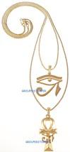 Ojo De Ra Con Ankh Nuevo Egipcio Necklaceset 24Y 76.2cm Caja Cadena Horus - $26.08