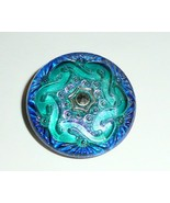 Wonderful Two Toned Blue Hand Painted Silver Lacy Glass Shank Button 1-1... - $14.84