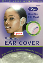 6 PACK PLASTIC EAR COVER WATER & CHEMICAL RESISTANT 12 PCS ONE SIZE FIT MOST