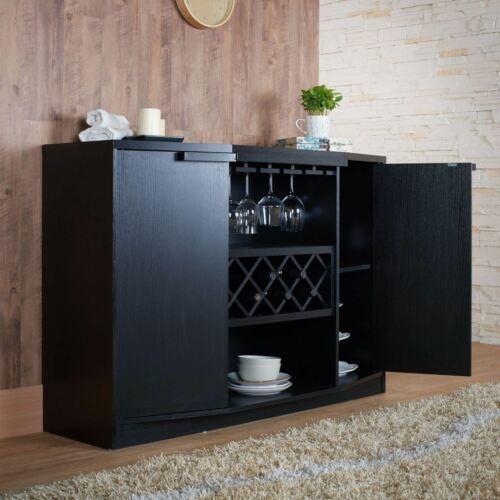 NEW Black Dry Bar Storage Holds 7 Bottles Wine Rack Liquor Cabinet Top Buffet
