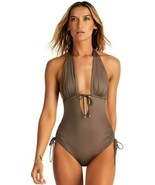 Vitamin A Brena mineral Ecolux Plunge Halter Maillot One piece Swimsuit ... - $125.00