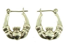 "Vintage Claddagh Sterling Silver  Hoop 3/4"" Pierced Earrings So Pretty! - $35.99"