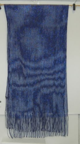 Accessories SHW 312 Scarf Navy Royal Blue Long Fringed Shimmery