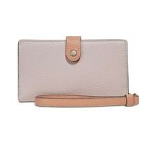 NWT COACH Color Block Phone Wallet Wristlet Clutch Card Ice Pink Silver ... - $49.50