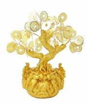 """7"""" Feng Shui Gold Money Coins Tree in Dragon Pot Wealth Blessing  image 3"""