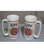Lot of 2 Vintage White Thermo-Serv Lite Pilsner Beer Mug Insulated Plast... - $11.88
