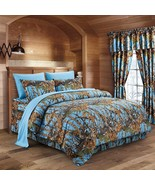 The Woods Camo Powder Blue 7 piece Queen Size Comforter and Sheet Set - $80.75