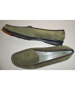 Liz Claiborne Loafers Weekend Shoes Green Suede Leather Flat Slip-on Wom... - $30.40