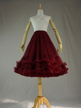 Burgundy MIDI Tulle Skirt Women High Waist Tulle Midi Skirt Ballet Dance Skirt