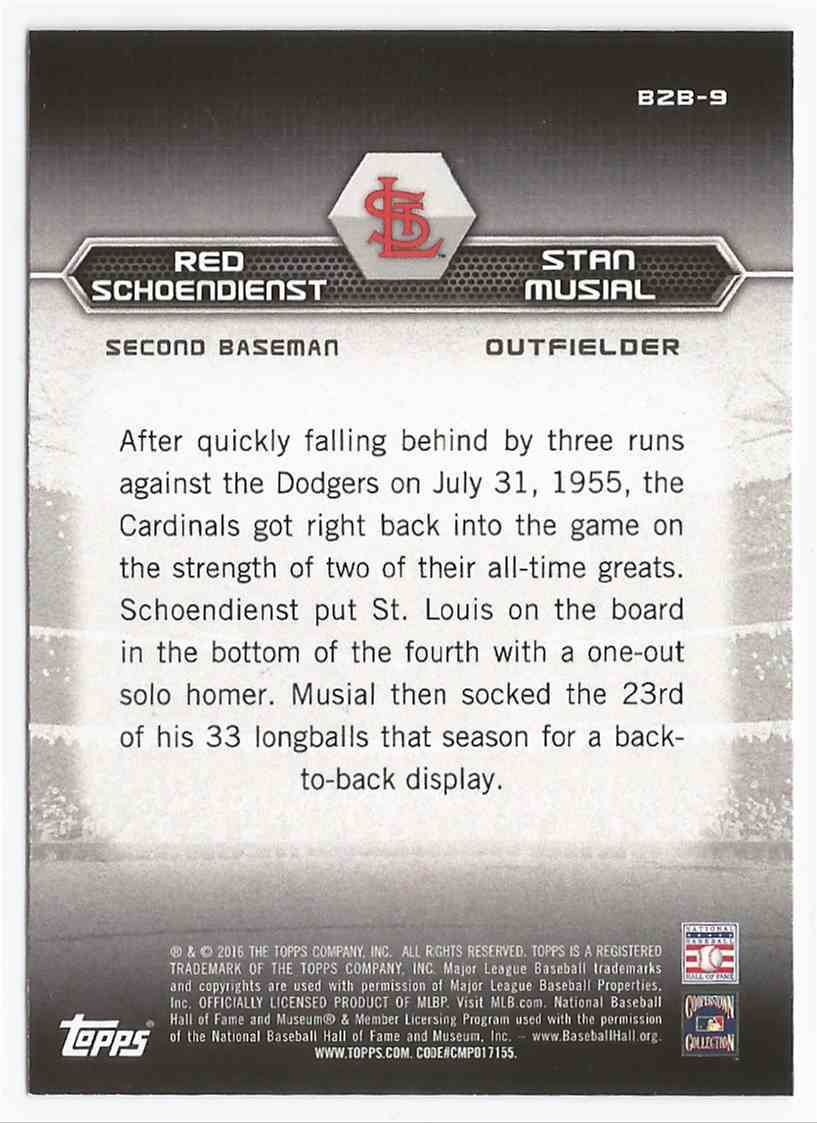 2016 Topps Back to Back #B2B9 Red Schoendienst/Stan Musial -MINT