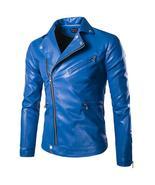 Cool Motorcycle Leather Jacket Men Brand Zipper Slim Fit PU Leather Jack... - $195.00+