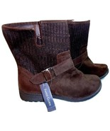 Faded Glory Womens Size 8 Brown Boots Ribbed Knit Upper Side Zippers NWT... - £11.23 GBP