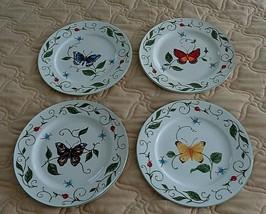 "4 Tabletops Unlimited Blue Orange Yellow Purple BUTTERFLY 10.5"" Dinner Plates  - $18.00"