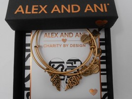 Alex and Ani Best Friends Set of 2 Bangle Bracelets Gold New Tag Box Card 2018 - $44.54
