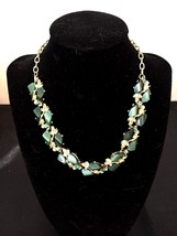 Gold Tone Green Lucite with Green AB Rhinestone Leaf & Vine Choker Necklace - $12.82