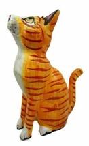 Balinese Wood Handicrafts Striped Yellow Feline Cat Purr Kitten Figurine... - $26.99