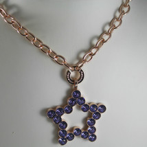 ROSE BRONZE REBECCA NECKLACE BIG STAR WITH PURPLE CRYSTAL CT 20.00 MADE IN ITALY image 2