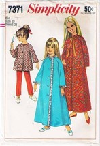 Vintage 1967 Simplicity Pattern 7371 ROBE, TOP & PANTS Girl Size 10 - UNCUT - $10.99