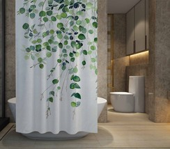 "RARE Eucalyptus Watercolor Shower Curtain Size 60"" x 72"" Free Shipping - $48.10"